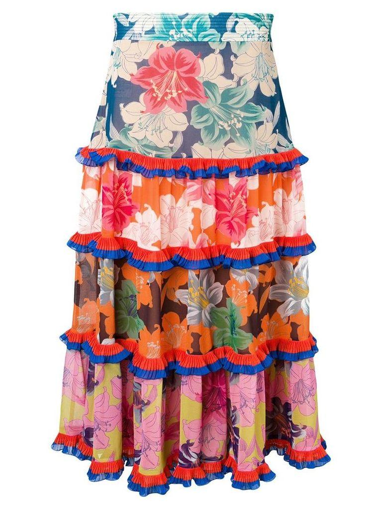 Etro floral tiered ruffle skirt - Orange