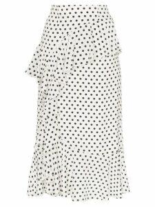 Erdem Roselia polka-dot print ruffled silk midi-skirt - White