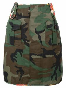Harvey Faircloth floral detail army skirt - Green