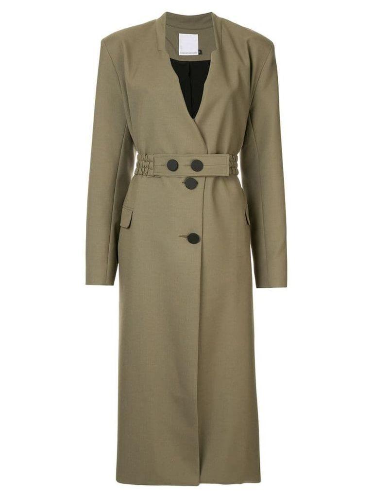 Christopher Esber belted longline coat - Green