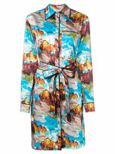 Victoria Victoria Beckham landscape printed shirt dress - Blue