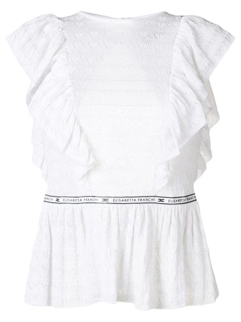 Elisabetta Franchi open back peplum blouse - White