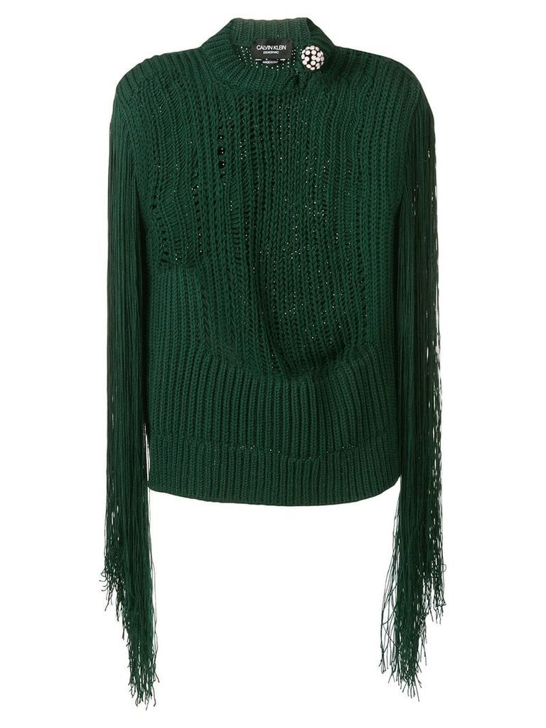 Calvin Klein 205W39nyc fringed sleeve knitted top - Green
