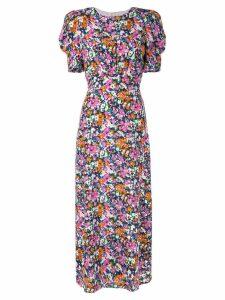 Saloni belted floral print dress - Pink