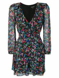 Saloni floral print mini dress - Black