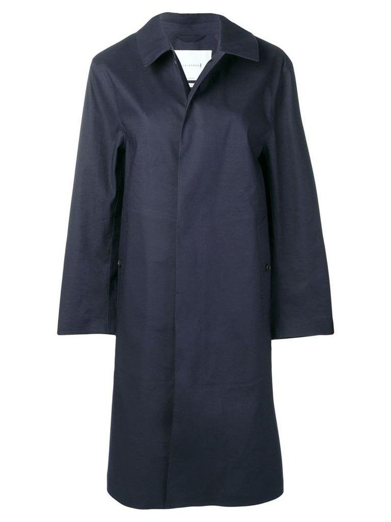 Mackintosh Navy Bonded Cotton Coat LR-089 - Blue