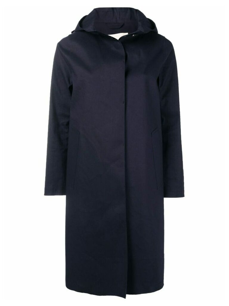 Mackintosh Navy Bonded Cotton Hooded Coat LR-021 - Blue