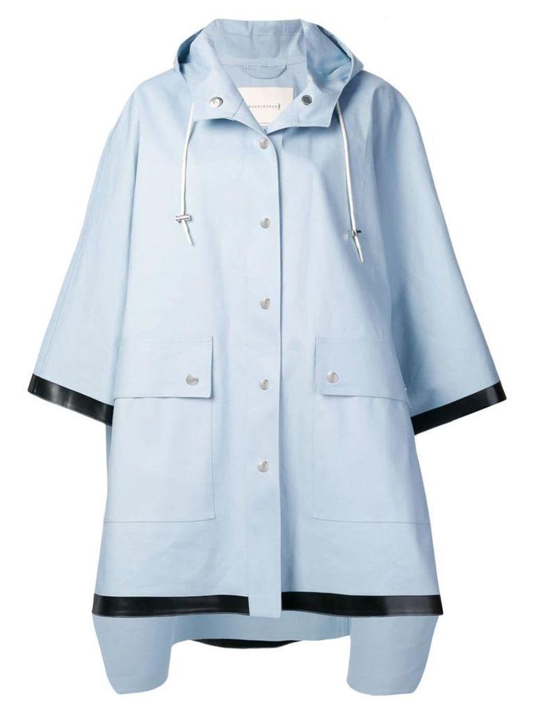Mackintosh Placid Blue Bonded Cotton Hooded Poncho LR-088