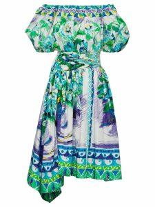 Prada printed cotton poplin dress - Blue