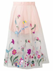 Mira Mikati organza embroidered skirt - Pink