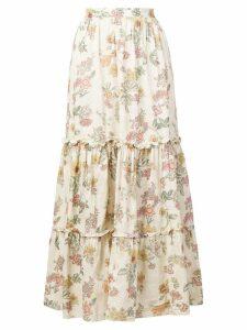 Local botanical print skirt - Neutrals