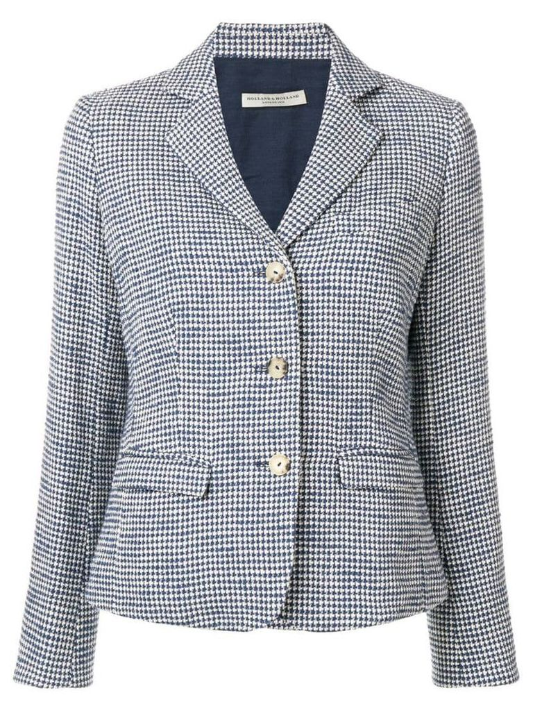 Holland & Holland checked single-breasted blazer - Blue