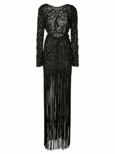 Oscar de la Renta sparkly mesh fringed dress - Black