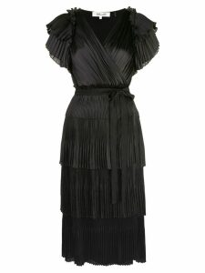 Diane von Furstenberg Sasha pleated ruffle wrap dress - Black