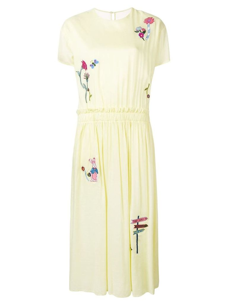 Mira Mikati embroidered tulle back dress - Yellow
