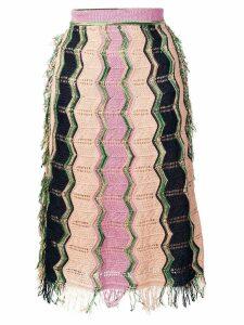 M Missoni striped knit a-line skirt - Pink