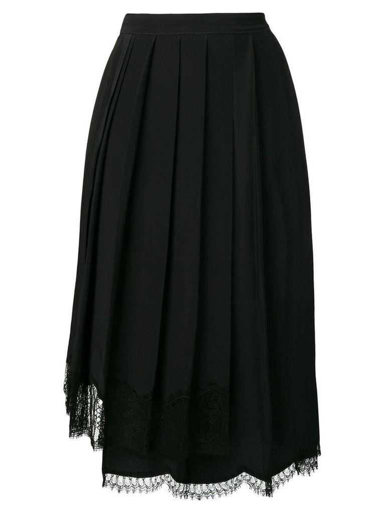 Nº21 lace hem pleated skirt - Black