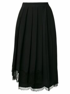 Nº21 lace hem pleated skirt - Black