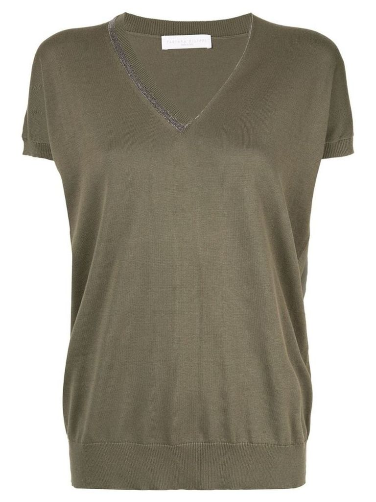 Fabiana Filippi v-neck shortsleeved sweater - Green