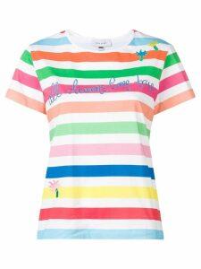 Mira Mikati Rainbow Stripe embroidered T-shirt - White