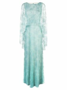 Tadashi Shoji sheer cape evening dress - Blue
