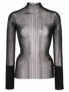 Dion Lee ribbed mesh polo top - Black
