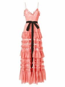 Brognano tiered lace gown - Pink
