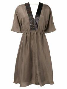 Brunello Cucinelli V-neck midi dress - Brown