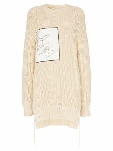 Jil Sander sketch-applique oversized knitted-cotton jumper - Neutrals