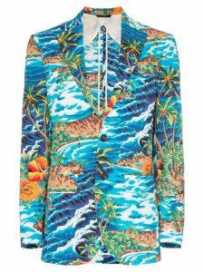 R13 wave-print boyfriend blazer - Turquoise Wave Island