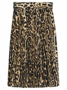 Burberry Leopard Print Stretch Silk Pleated Skirt - Neutrals