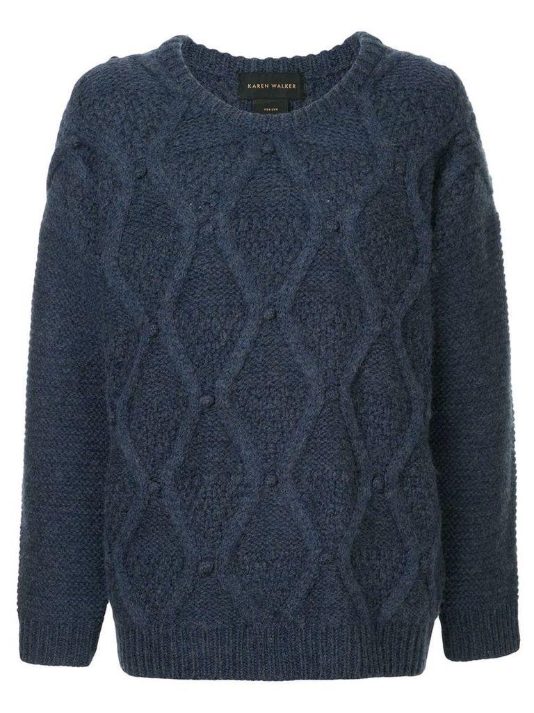 Karen Walker oversized cable knit sweater - Blue