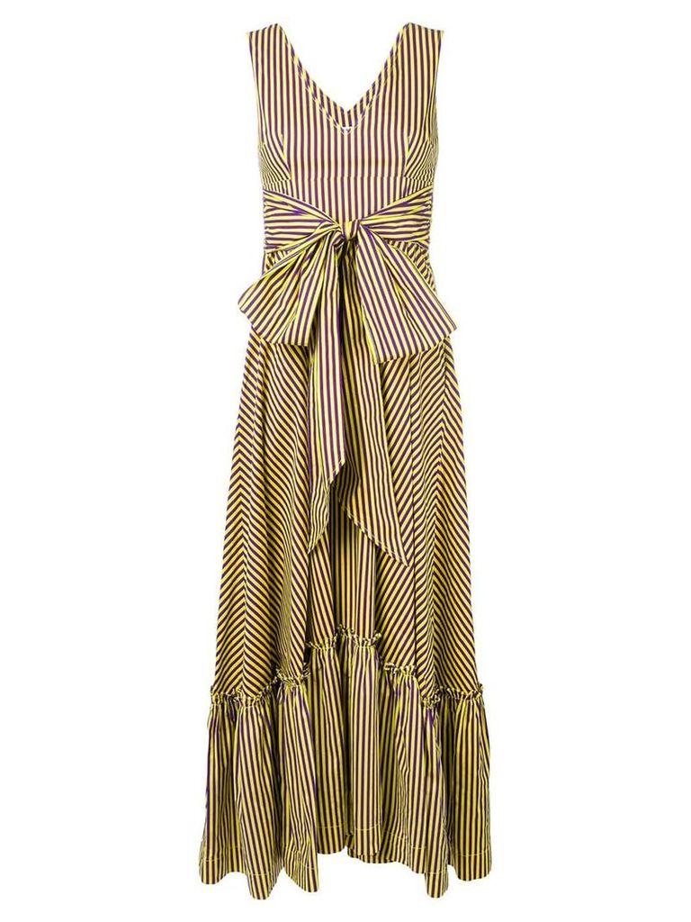 P.A.R.O.S.H. long striped dress - Yellow