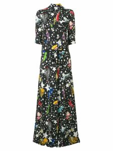 Ultràchic star print maxi shirt dress - Black