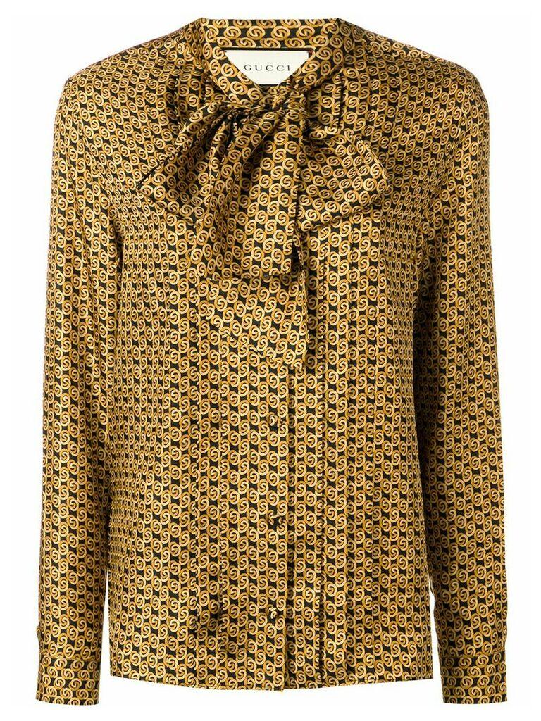 Gucci printed silk twill blouse - Yellow
