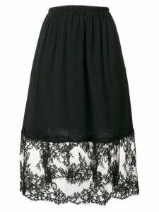 MSGM floral lace hem A-line skirt - Black