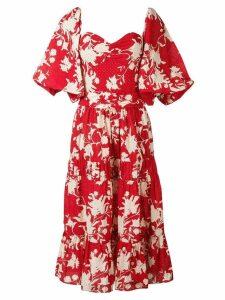 Johanna Ortiz floral midi dress - Red