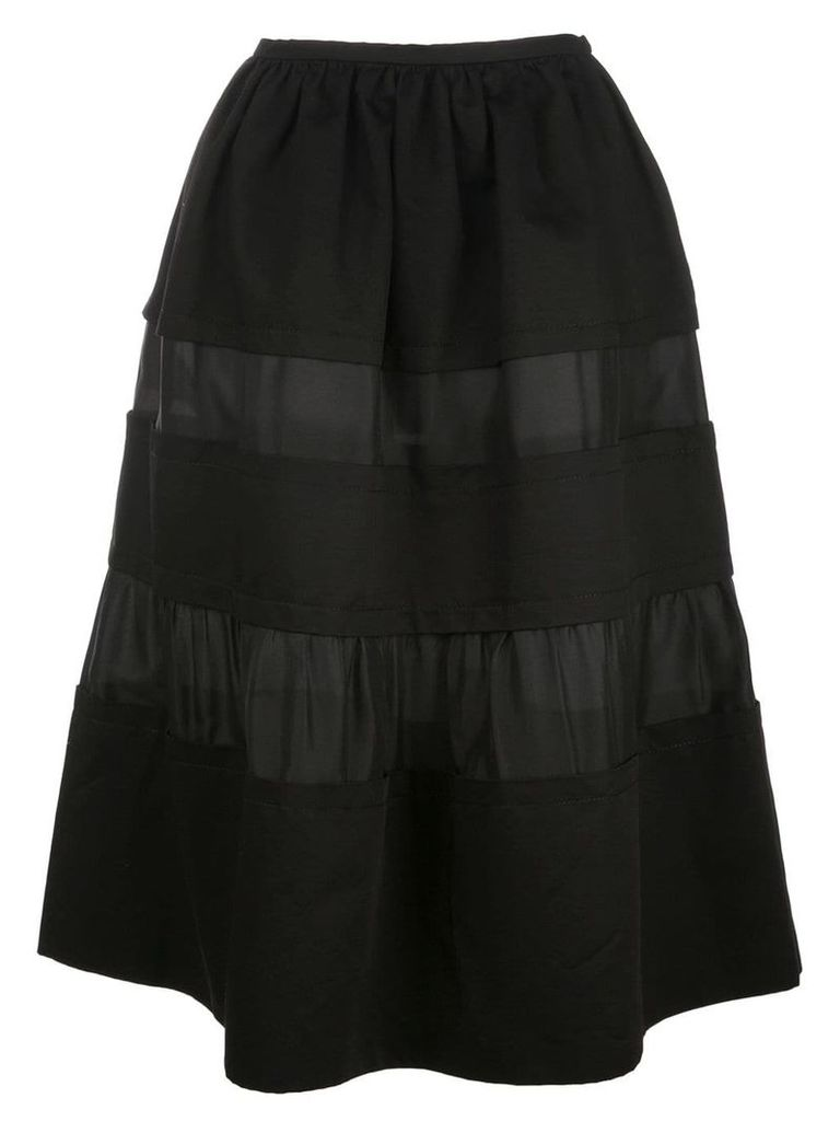 Marni contrast panel flared skirt - Black