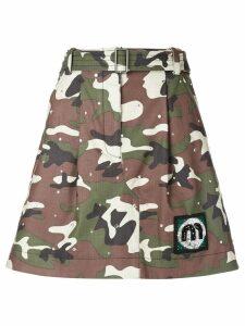 Miu Miu camouflage print skirt - Green