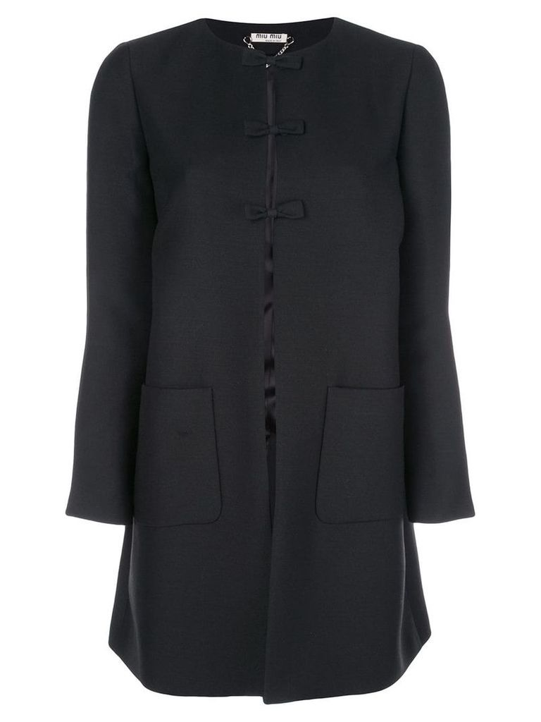 Miu Miu oversized bow detail coat - Black