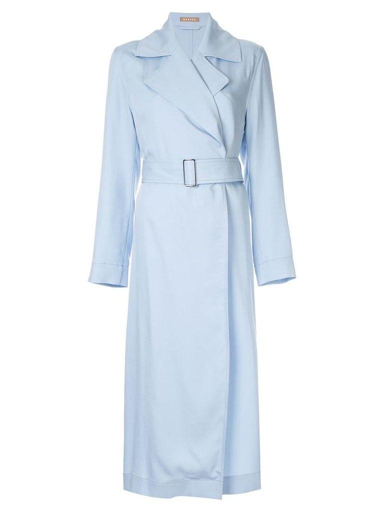 Nehera asymmetric hem trench coat - Blue