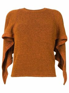 Chloé waterfall sleeve knitted top - Brown