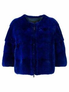 Liska cropped fur jacket - Blue