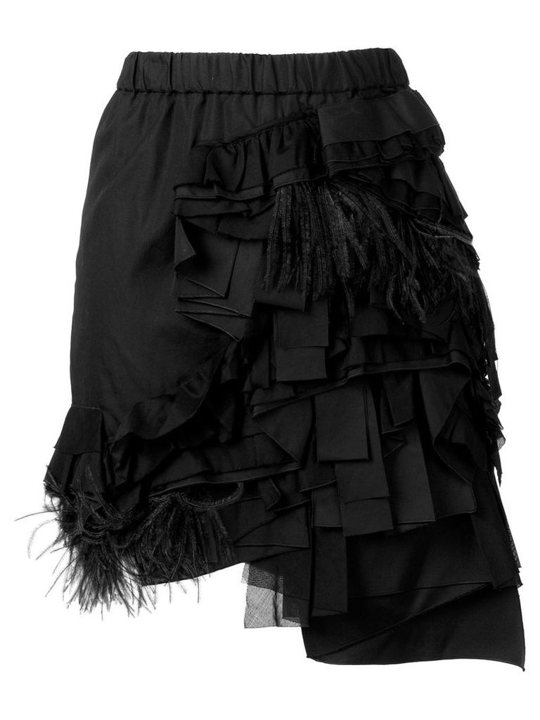 Nº21 ruffle and feather trim draped skirt - Black