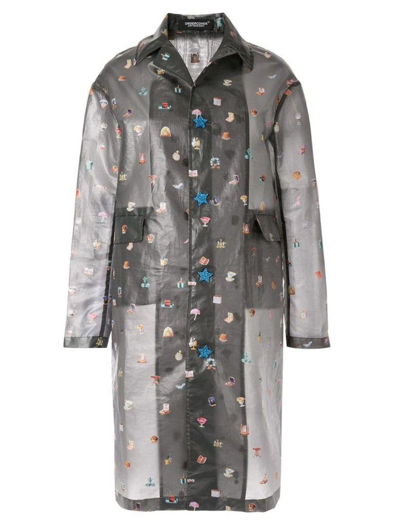 Undercover sheer emoji coat - Grey