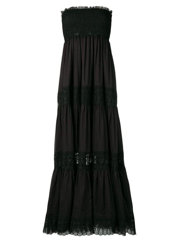 Charo Ruiz floor length lace paneled dress - Black