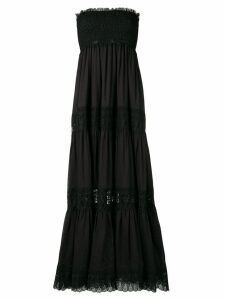 Charo Ruiz floor length lace paneled dress - Black