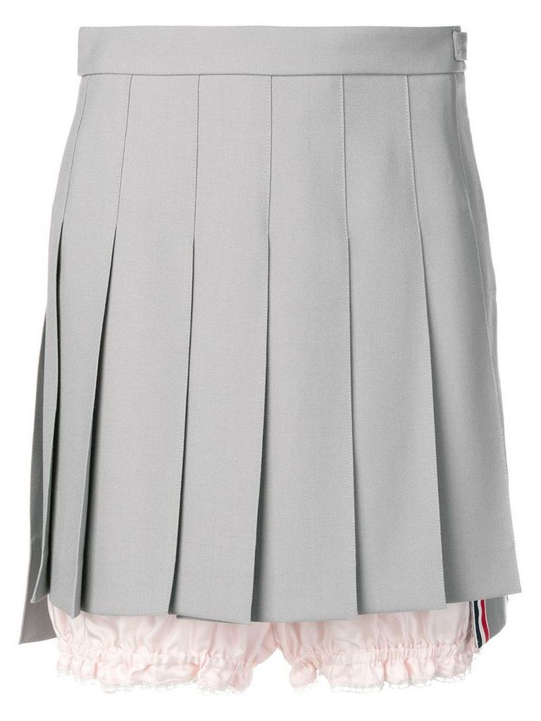 Thom Browne Lace Trim Bloomer Miniskirt - Grey