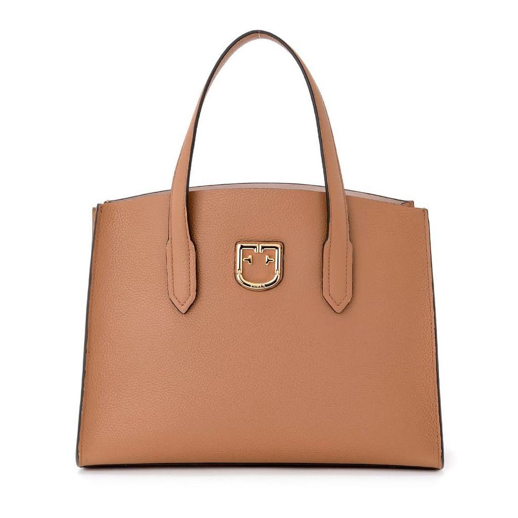 Furla Lodovica M Caramel Tumbled Leather Handbag