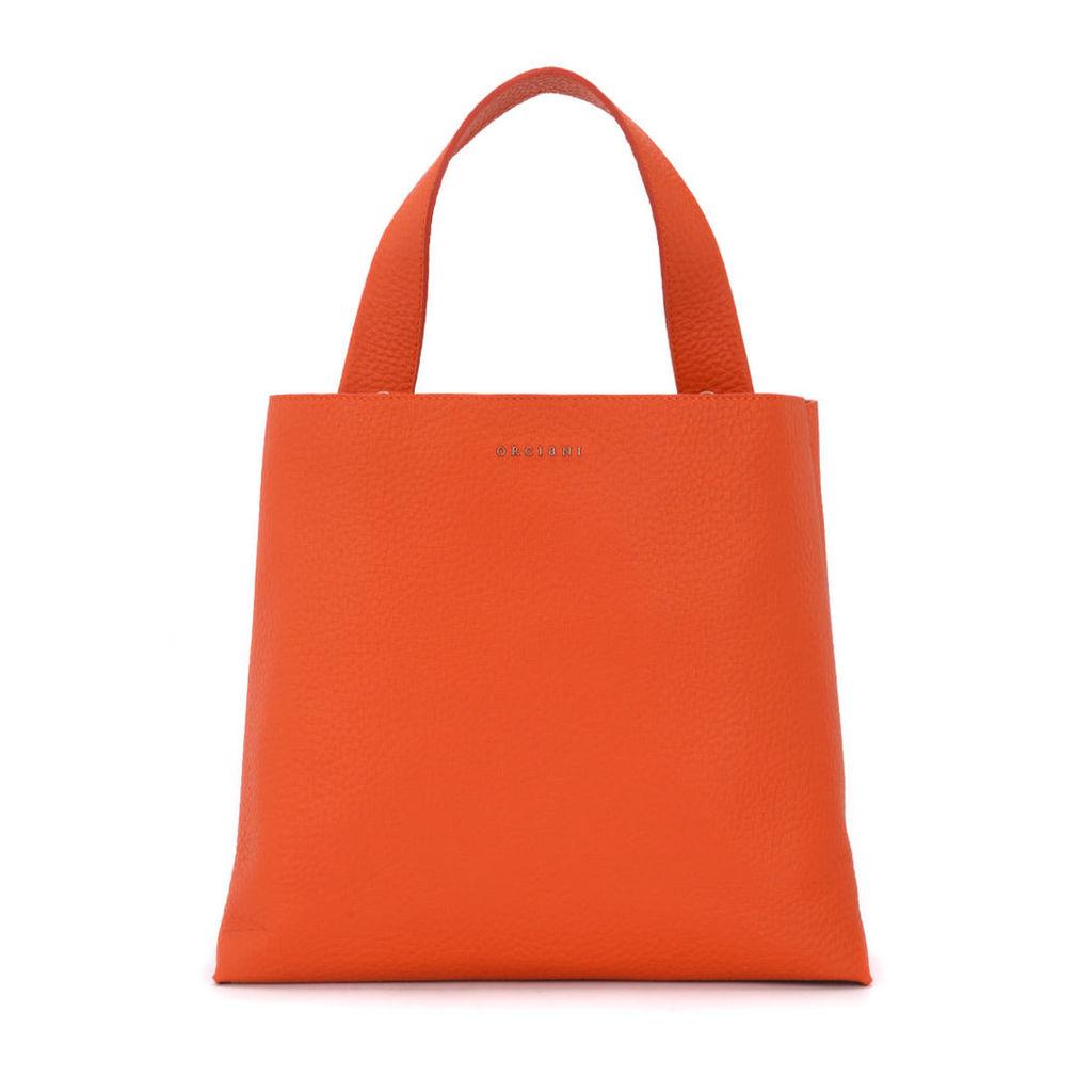 Orciani Jackie Orange Tumbled Leather Shoulder Bag